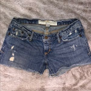 Abercrombie and Fitch lightly ripped denim shorts